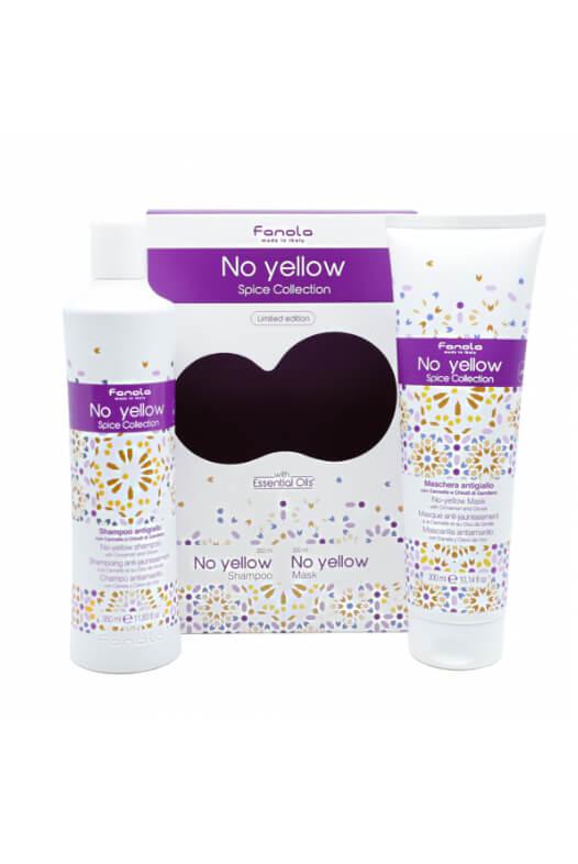 Fanola No Yellow Spice Collection set - sada šampon No Yellow 350 ml + maska No Yellow 300 ml s vůní skořice a hřebíčku