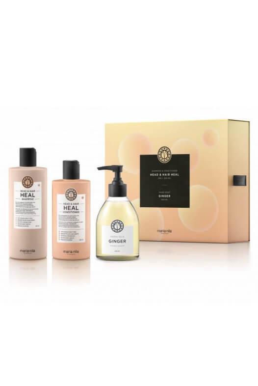 Maria Nila Head & Hair Heal dárková sada šampon 350 ml + kondicionér 300 ml + tekuté mýdlo Ginger 300 ml