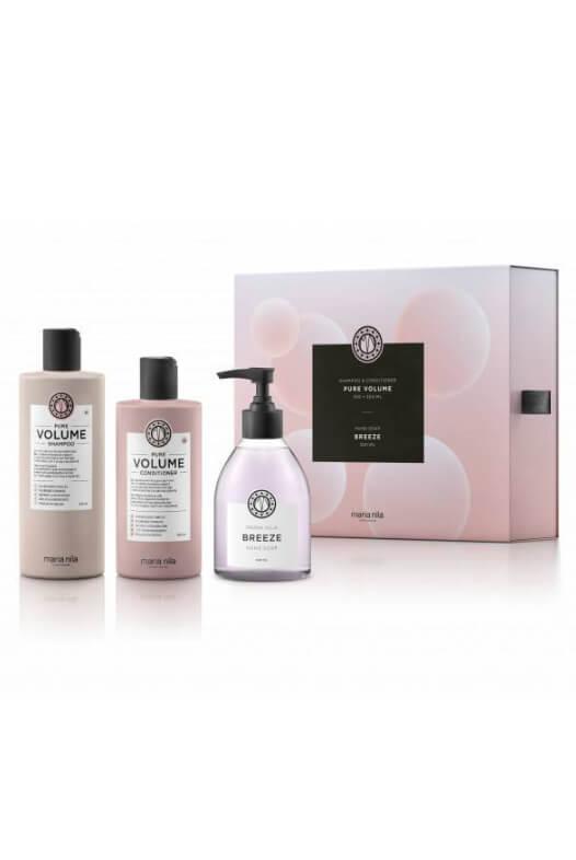 Maria Nila Pure Volume dárková sada šampon 350 ml + kondicionér 300 ml + tekuté mýdlo Breeze 300 ml