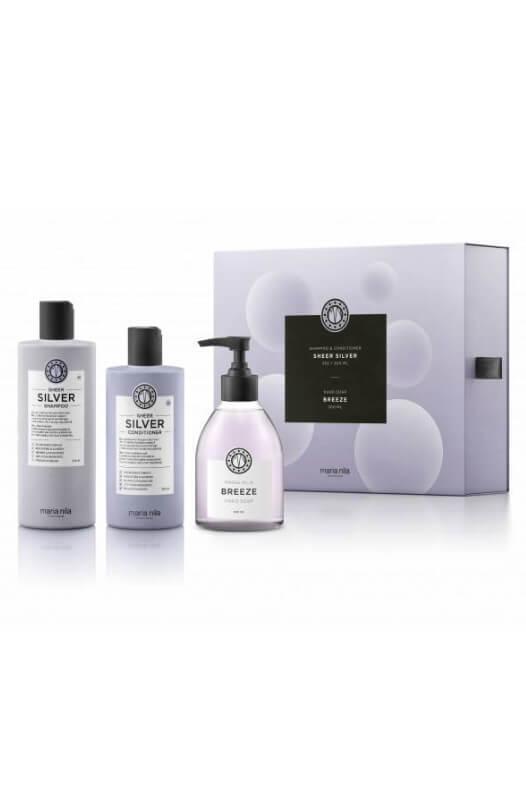 Maria Nila Sheer Silver dárková sada šampon 350 ml + kondicionér 300 ml + tekuté mýdlo Breeze 300 ml