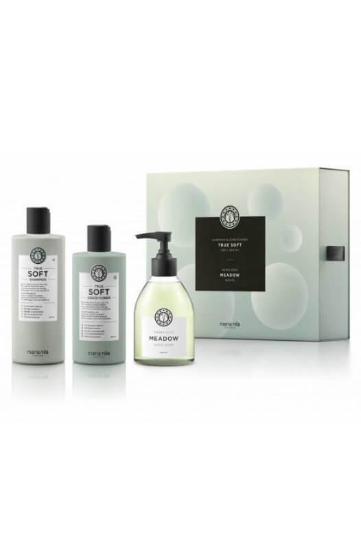 Maria Nila True Soft dárková sada šampon 350 ml + kondicionér 300 ml + tekuté mýdlo Meadow 300 ml